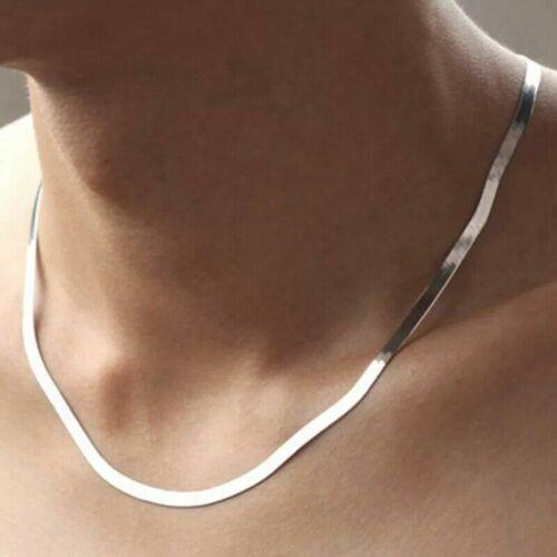 Collar en Plata De Ley Cadena para Mujer y Hombre cadena esterlina Singapur.
