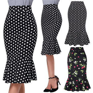 2017-Women-Retro-50s-Mermaid-Pinup-Slim-Wiggle-Trumpet-Bodycon-Pencil-Skirt-OL
