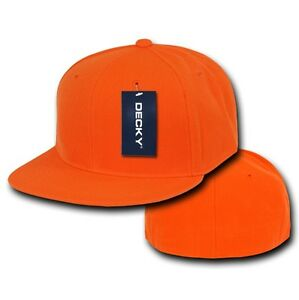 Orange Fitted Flat Fit Bill Plain Solid Blank Baseball Ball Cap Caps ... 83cd65d8302