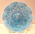 DAVIDSON~VICTORIA & ALBERT~RD:303519~BLUE PEARLINE~GLASS~CRIMPED~DISH~9~3/8