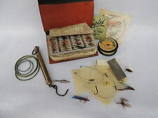 Vintage Leather Fly Fishing Wallet, Salter Scales , 70+ Flies, Hardy & Allcocks.
