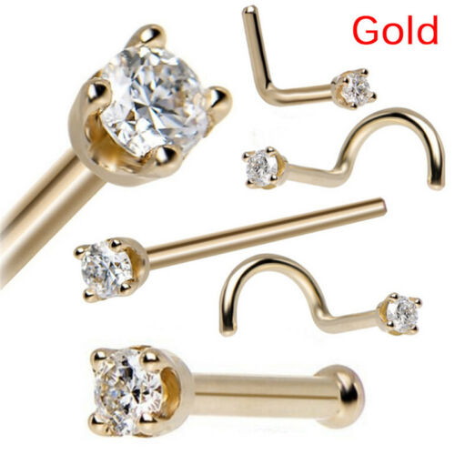 5PCS//Set Strass Clous Nez Vis Ring Bone Bar Pin Piercing Corps jewelrodus