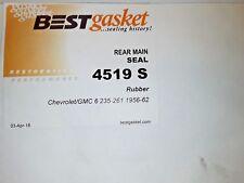Chevrolet Gmc 235 Ci 261 Ci Rubber Rear Main Seal Set Best 1956 1962 Usa Fits 1958 Chevrolet Truck
