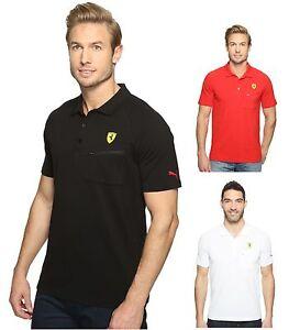NEW Puma Ferrari Sport SF Polo Shirt T-Shirt Zip pocket Black Red White 762135