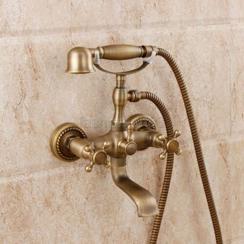 Antique Brass Bathroom Clawfoot Tub Faucet /& Hand Shower Wall Mounted ftf351