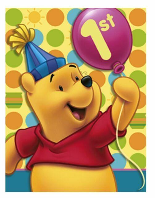 Pooh 1st Birthday Party Invitations