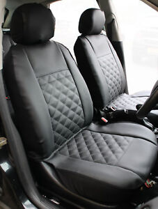 Peugeot Partner Pair of Front GREY /& BLACK Leatherette Car Seat Covers