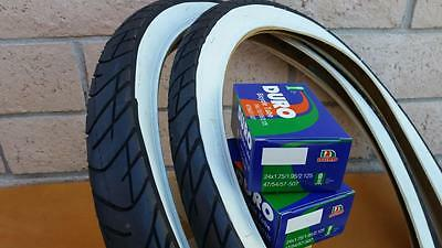 2 DURO 24X2.125 BEACH CRUISER BICYCLE TIRES STREET SLICK TREAD WHITEWALL /&TUBES