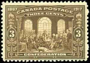 Canada-135-mint-F-VF-OG-NH-1917-Fathers-of-Confederation-3c-brown-CV-125-00