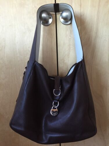 Silber Tote Schulter Handtasche Ralph Braun Kollektion Lauren Lock Leder Italien x0fqXAwUR