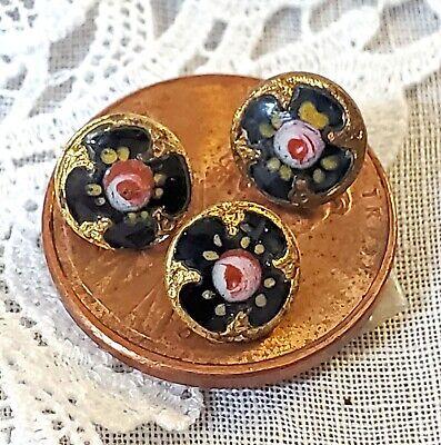 Set of 3 Antique Mini Diminutive Gold Cobalt Blue Pink Rose Doll Clothes Buttons
