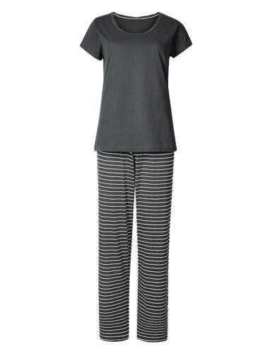 Ex Marks and Spencer Pure Cotton Striped Pyjama Set 8-22 P147.3