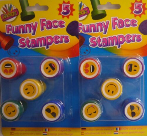 10 or 15 Self Inking Funny Face Emoji Coloured Stampers Party Bags? Pack of 5
