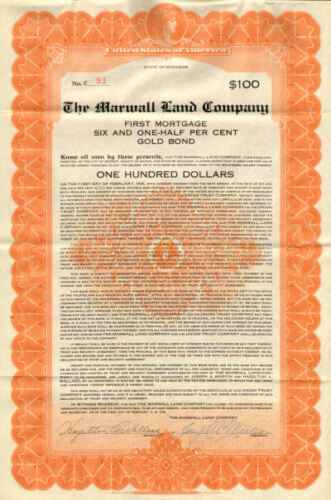 The Marwall Land Company /> 1926 Michigan $100 gold bond certificate