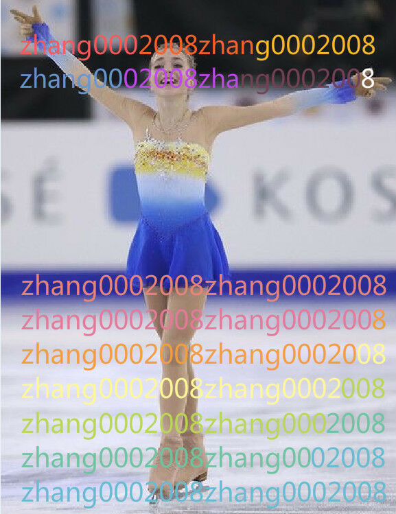 Ice skating dress.bluee Competion Figure Skating Baton Twirling Costume