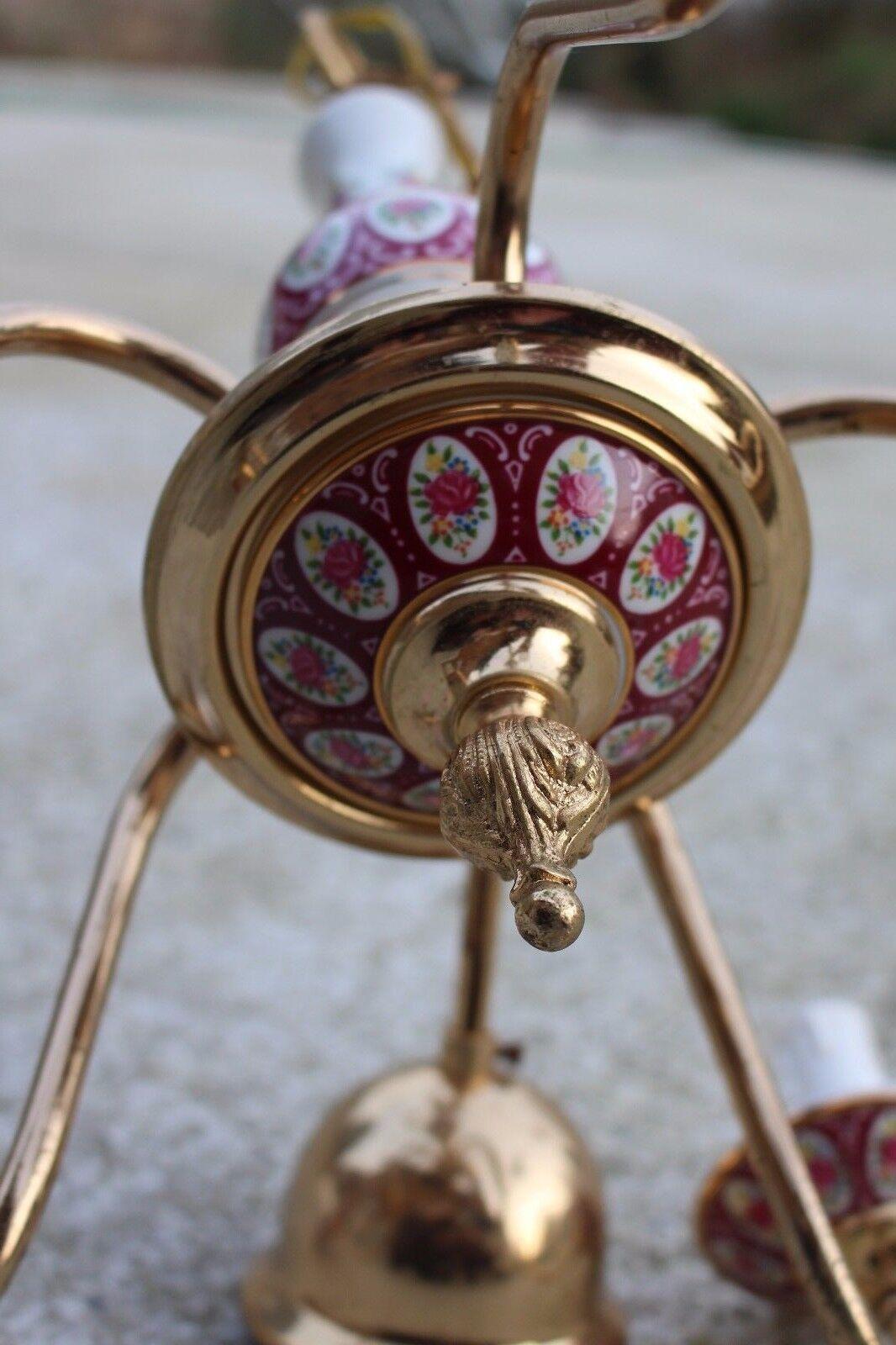 Brass and Porcelain Chandelier Light Lamp Ceiling 5 lights Beautiful  787