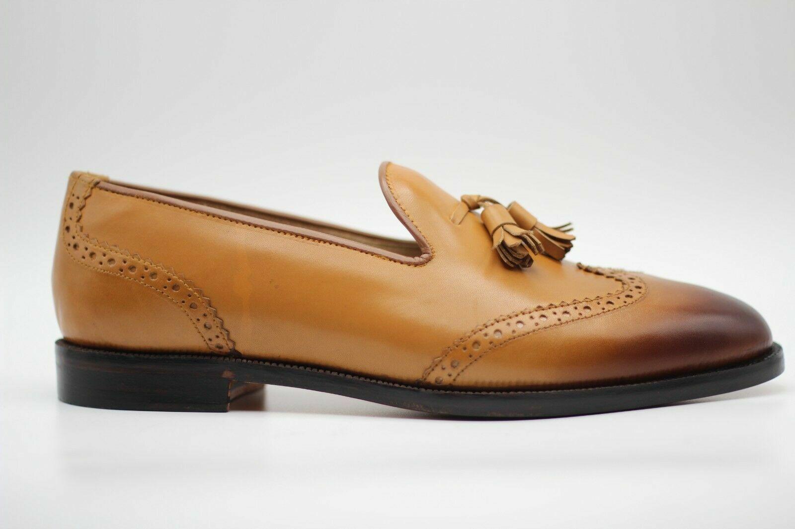 Handgemachte echte Tan Leder Oxford Brogue Wingtip Quasten Mokassin Schuhe