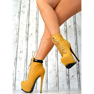 Neu-Stiefeletten-High-Heels-Ankle-Pumps-Plateau-Party-SeXy-Schnur-Schuhe