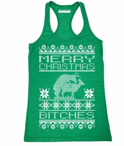 Details about  /Merry Christmas Bitches Ugly Xmas Women/'s junior fit Racerback Tank Top