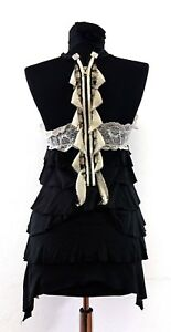Free-People-Womens-Top-Vest-Racer-Back-Lace-Black-Sz-XS-8-UK-Embellished-Tiered