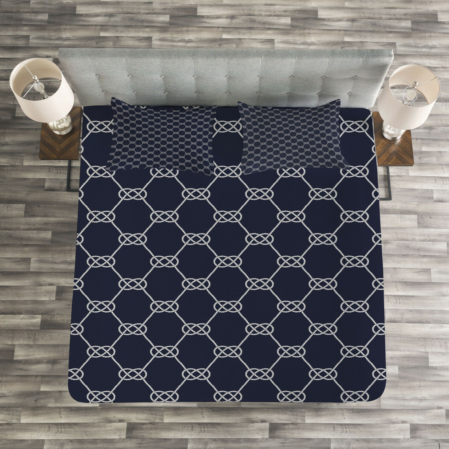 Navy blueeee Quilted Bedspread & Pillow Shams Set, Navy Inspired Knot Print