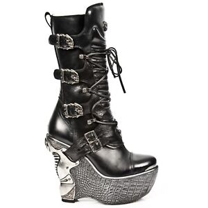 Rock Leather Black Wedge New Gothic s4 Boots Heel Pz003 Ladies Lace Up YwnaaxdBAq