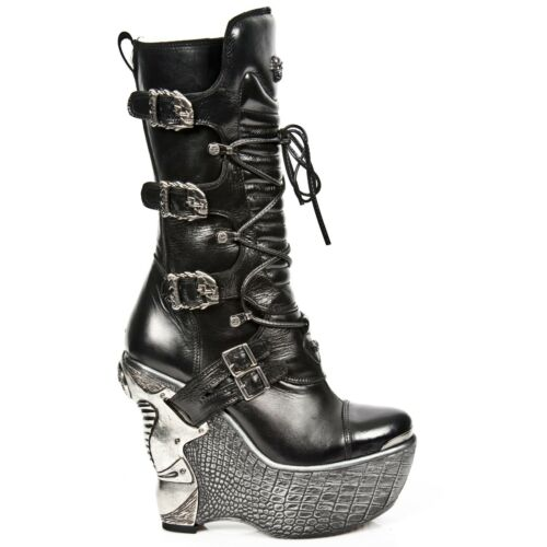 Wedge Heel Leather Ladies Up s4 Pz003 Black Lace Gothic Boots Rock New qYv6zx