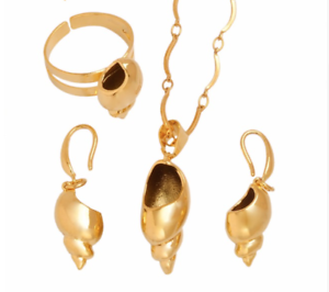 Traditional-Papua-New-Guinea-PNG-Creole-Necklace-Earrings-Ring-Shell-Snail-Set