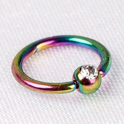 10pc 16G Rainbow Clear CZ Crystal Hoop Nose Rings 8mm