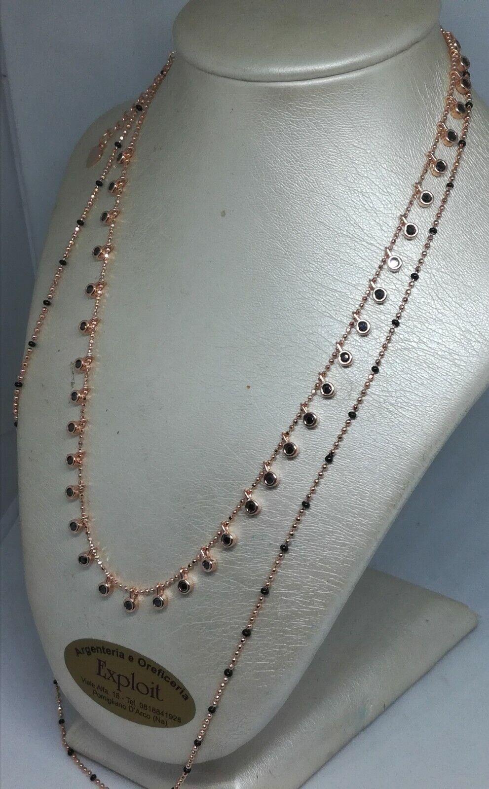 Collana argentoo collier collier collier ZIRCONI DOPPIO FILO RAMATO CM 34 38 NOVITÀ 57e4b4
