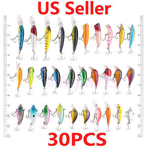30x-Fishing-Lures-Crankbaits-Treble-Hooks-Minnow-Crank-Baits-Tackle-Bass-Minnow