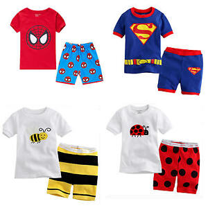 4e0373218 2pcs Baby Boy Kids T-shirt Top+Pants Shorts Pajamas Outfit Clothes ...