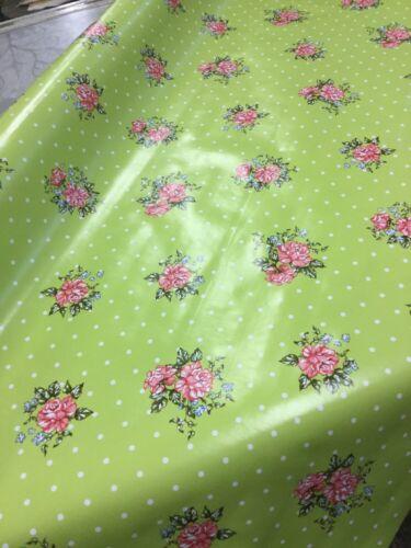 Vert citron//floral facile à nettoyer pvc tissu par 1//2 mètre