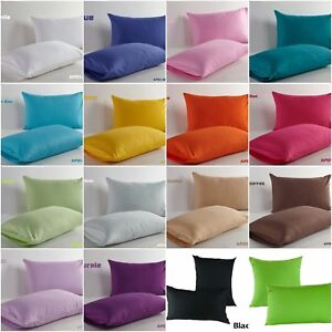 Solid-Colour-Cotton-Standard-Or-Euro-Pillow-Cases-Decorative-Cushion-Covers-New