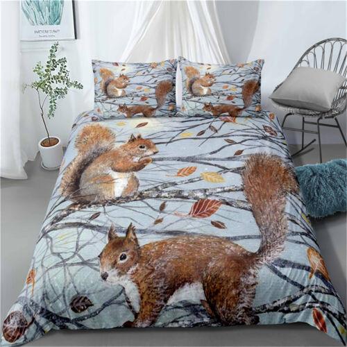 Duvet Quilt Cover Set Pillowcase Single Double King Super King Squirrel  Branch