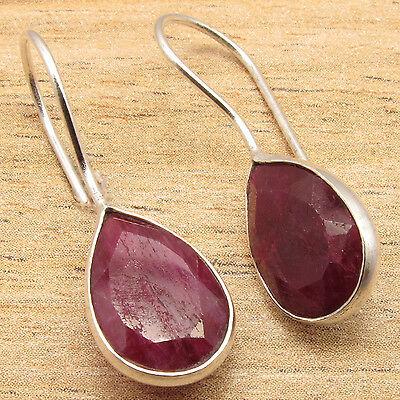 Simulated RUBY Gemstone Women's Simple Earrings ! 925 Silver Plated Jewellery