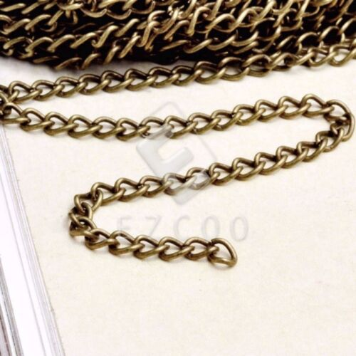 4m Iron Antique Brass//Silver//Black Curb Chain Unfinished Chains 0.8x3mm Hot