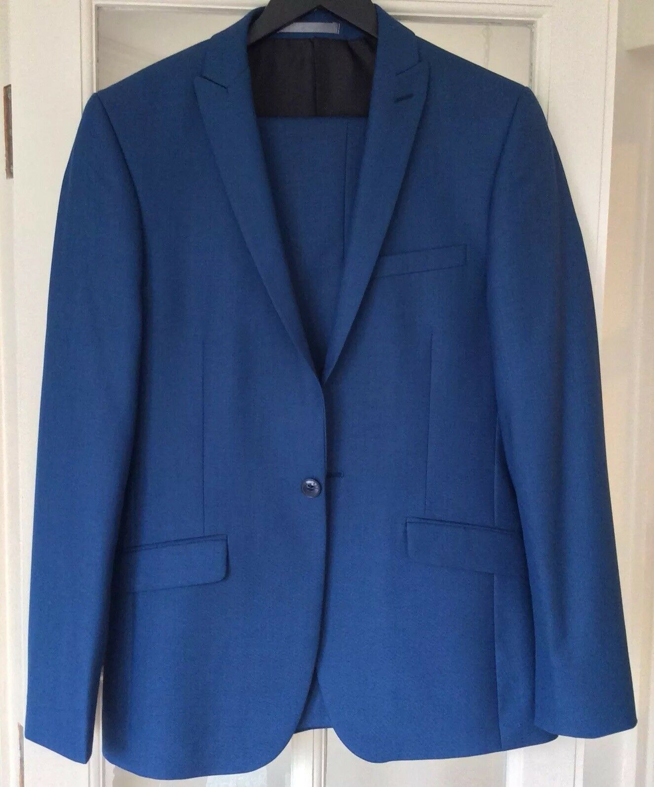 Mens Red Herring Bright bluee semi plain 1 button slim fit suit 36 reg   30 long