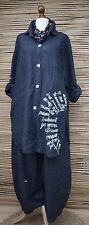 LAGENLOOK BEAUTIFUL 100% LINEN 2 PCS JACKET/SHIRT+TROUSERS**NAVY**BUST UP TO 50""