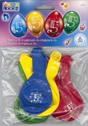 Luftballon rund Zahl 5 bunt 8 Stück 23-25cm Durchmesser Helium geeignet Schadsto