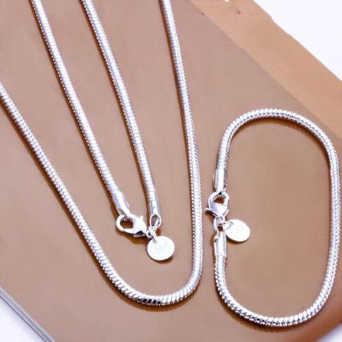 S076 Livraison gratuite Argent Sterling 925 Serpent Chaîne Collier Bracelet 3 mm 20 in environ 50.80 cm