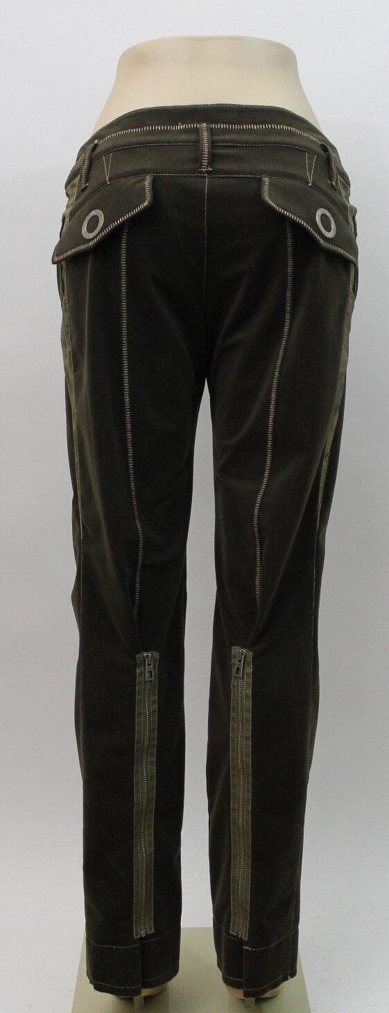 Christian Dior Boutique Paris 1947 Army Green Corduroy Zipper Pants SZ 40 US 8