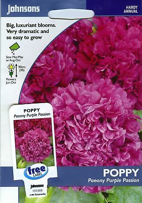 2019 Mode Johnsons Seeds - Pictorial Pack - Flower - Poppy Purple Passion - 750 Seeds Aromatisch Karakter En Aangename Smaak