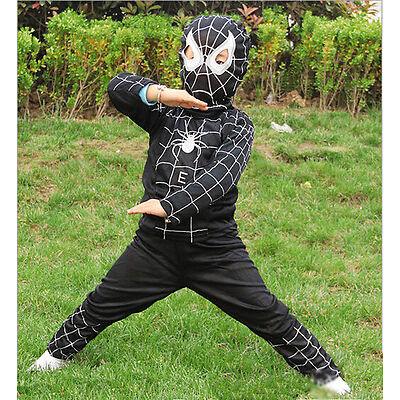 Boys Kids Black Spiderman Hero Tops T-shirt Pants Outfits Set Cosplay Costume