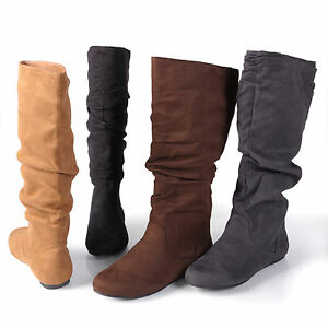 Journee-Collection-Womens-Wide-Calf-Mid-Calf-Slouch-Riding-Boots-New