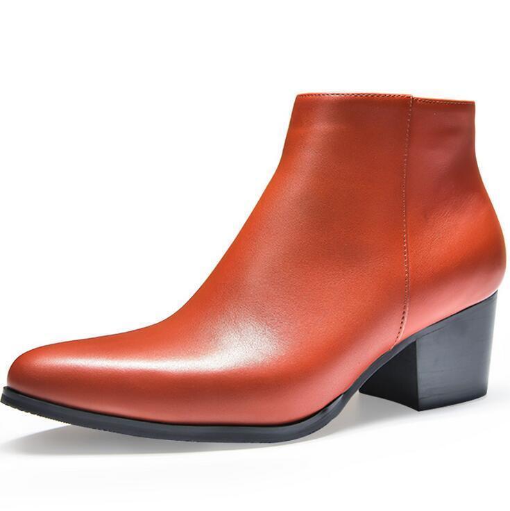 Men's High Top en Punta De Cuero Bloque Talón Elegante Informal botas al Tobillo Zapatos