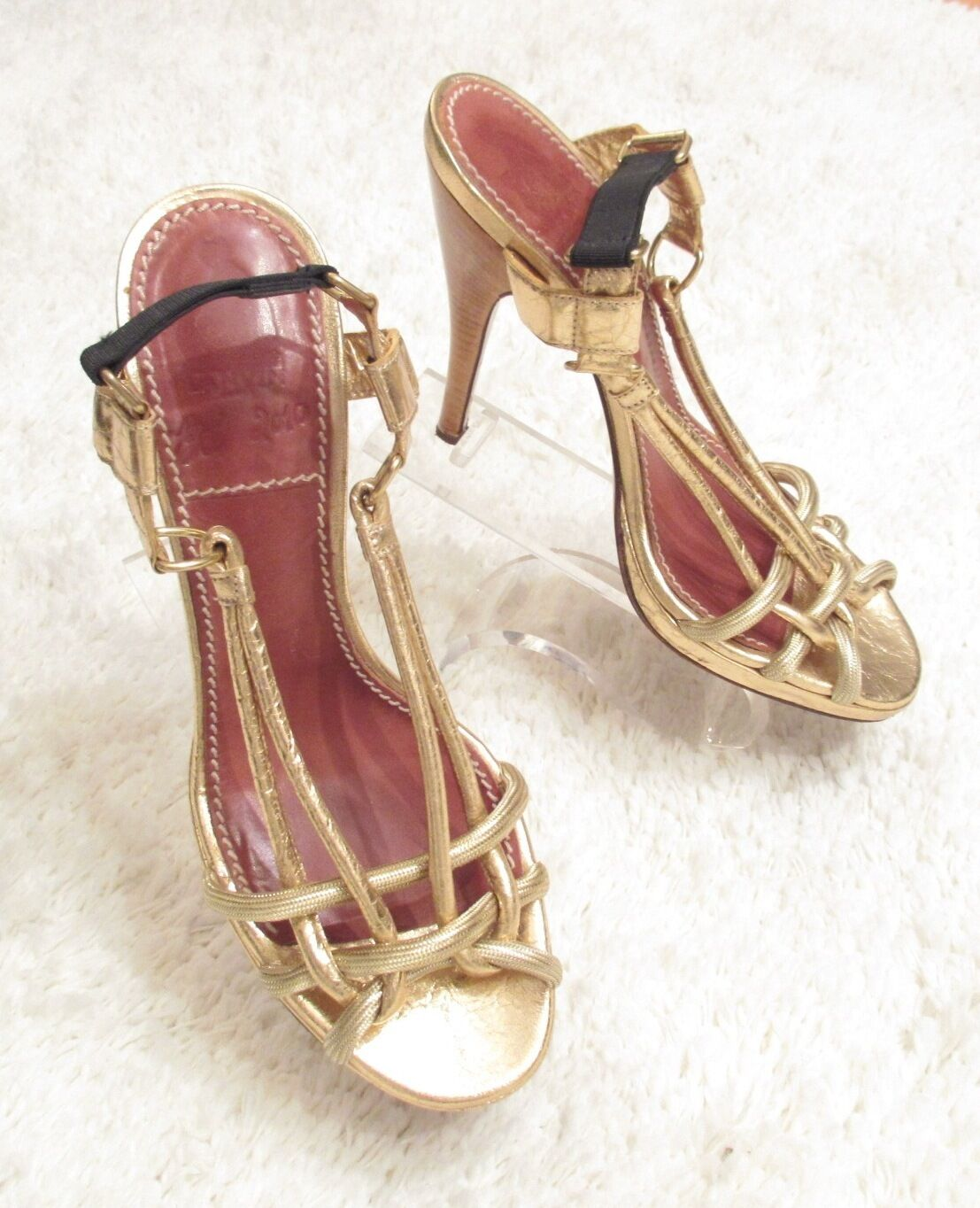 LANVIN METALLIC gold CRACKLE LEATHER STRAPPY SANDALS 39