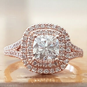 3-50-CT-Cushion-Cut-Diamond-Solid-14k-Rose-Gold-Bridal-Engagement-Wedding-Ring