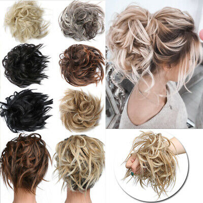Tousled Updo Messy Ponytail Bun Elastic Band Wrap On Hair Piece