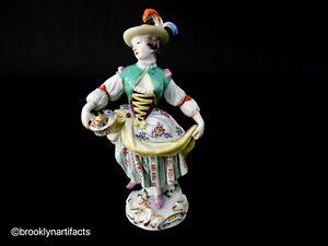 Antique Meissen Painted Porcelain Flower Maiden Figurine - Late 1800's